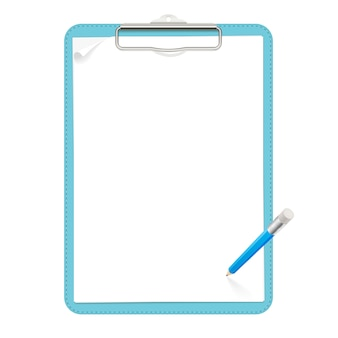 Realistic light blue leather clipboard with a metal low-profile clip, holding two blank paper sheets with a little curl. blue pencil with eraser is above clipboard. isolated clipart.