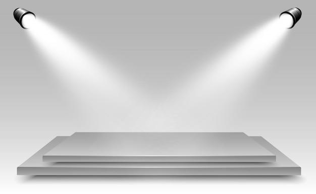 Реалистичный световой короб с платформой фон для представления, шоу, выставки. иллюстрация лайтбокса интерьер студии. подиум с прожекторами.