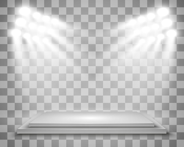 공연, 쇼, 전시회 플랫폼 배경으로 현실적인 라이트 박스. 라이트 박스 스튜디오 인테리어의 그림입니다. 스포트 라이트가있는 연단.
