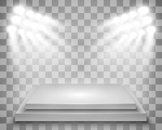 パフォーマンス、ショー、展示のためのプラットフォームの背景を持つ現実的なライトボックス。ライトボックススタジオインテリアのイラスト。スポットライトと表彰台。