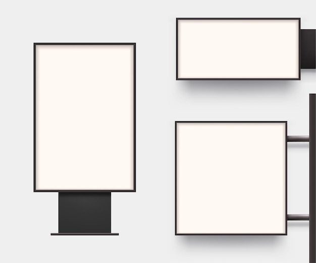 Реалистичные световые коробки вид спереди в наборе