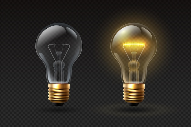 Realistic light bulb. on and off glass electric lightbulbs with filament. 3d lamp with glow effect. creative or business idea vector concept. illustration lightbulb glowing, electricity light