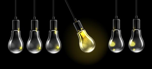Realistic light bulb pendulum illustration