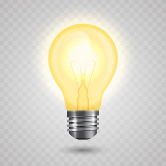 Realistic light bulb with electricity