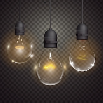Realistic light bulbs collection