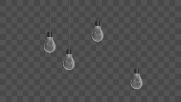 Реалистичные лампочки. люстра в стиле лофт. элемент дизайна интерьера. иллюстрация.