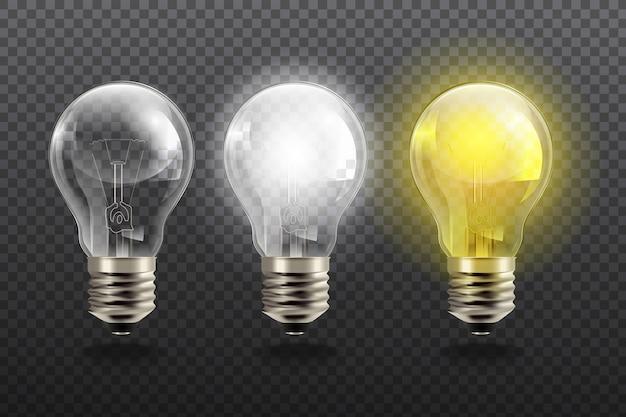 Реалистичные лампочки на прозрачном фоне