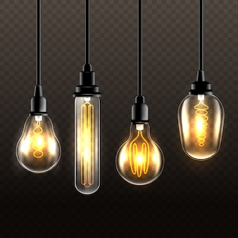 Realistic light bulbs on transparent background