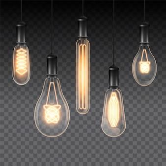 Realistic light bulbs on transparent
