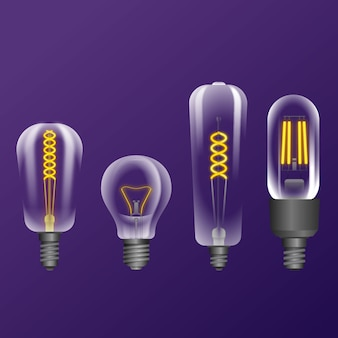 Realistic light bulbs with filament