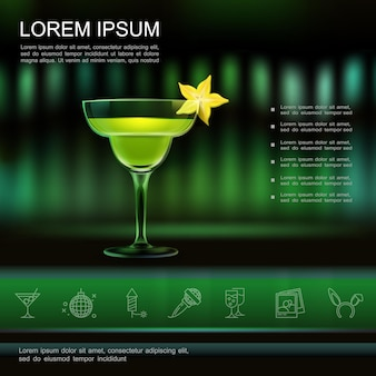 Realistic light night party template with cocktail and entertainment icons
