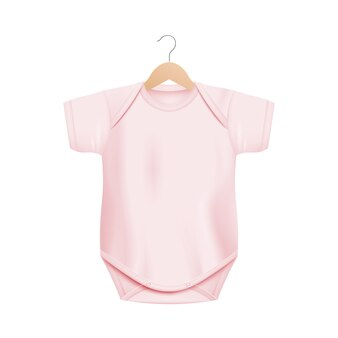 白い背景の木製ハンガー-空白のコピースペースを持つ新生児服-イラストの現実的な光ピンクの赤ちゃんワンピースシャツ。