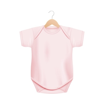 Realistic light pink baby onesie shirt  on wooden hanger  on white background - newborn clothing  with blank copy space -  illustration.