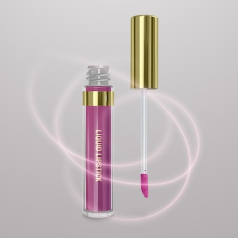 Realistic, light pink liquid lipstick. 3d illustration, trendy cosmetic design