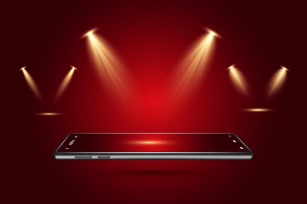Realistic light scenic spotlight set for concert stage scene and show on transparent dark