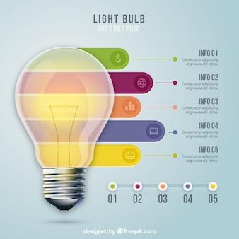 Realistico lampadina infografia