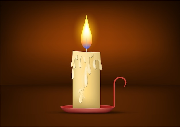 Realistic lighted christmas candle background.  illustration