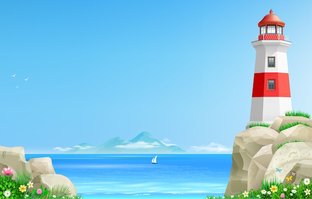 Realistic lighthouse on a green hill above the sea