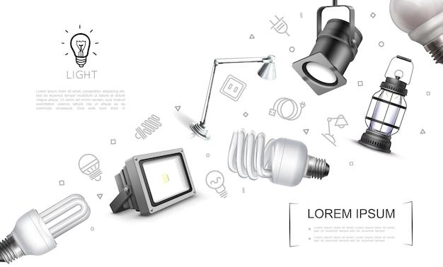 Realistico concetto di apparecchiature di illuminazione con faretti lampada lanterna led e lampadine fluorescenti