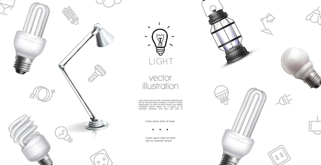 Realistic lighting objects template with lantern lamp bulbs and light equipment icons