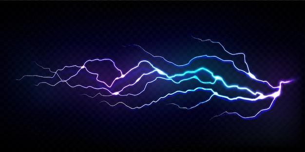 Realistic lightning bolt isolated on transparent black background.