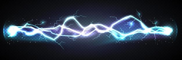 暗い背景にリアルな稲妻の強力な放電