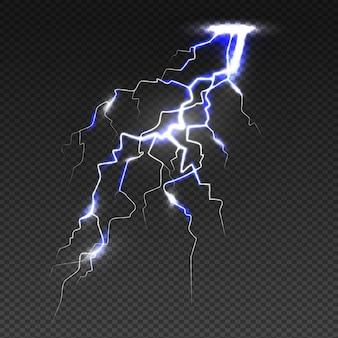 Realistic lightning bolt on transparent background
