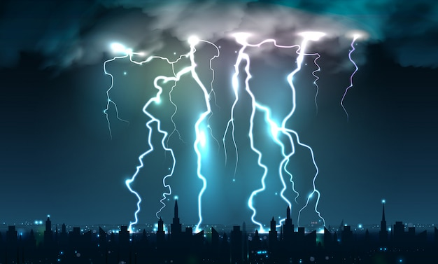 Realistic lightning bolts flashes composition of lightning strokes and thunderbolts on night sky with cityscape silhouette