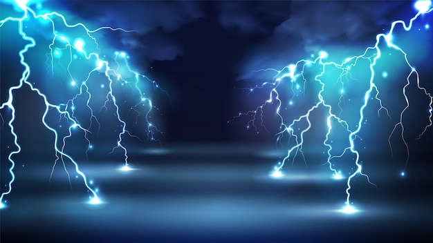 Realistic lightning bolts flashes composition with images of clouds in night sky and radiant glowing lightning strokes