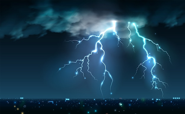 Realistic lightning bolts flashes composition with view of night city sky with clouds and thunderbolt images