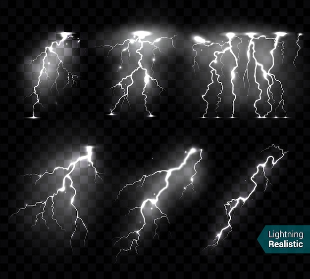 Realistic lightning bolts flashes white images collection of isolated monochromatic thunderbolts on transparent  with text
