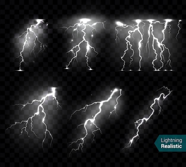 リアルな稲妻は、テキストで透明に孤立した単色の落雷の白い画像コレクションを点滅させます