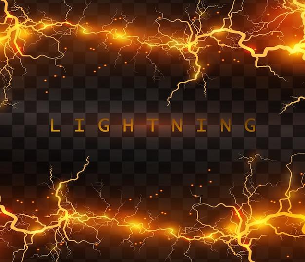 Реалистичные молнии на черном прозрачном фоне, заряд энергии мощный, накопление электрического оранжевого и синего заряда