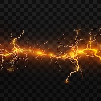 Реалистичные молнии на черном прозрачном фоне. заряд энергии мощный. накопление электрических оранжевых и синих зарядов. природное явление. магический эффект.