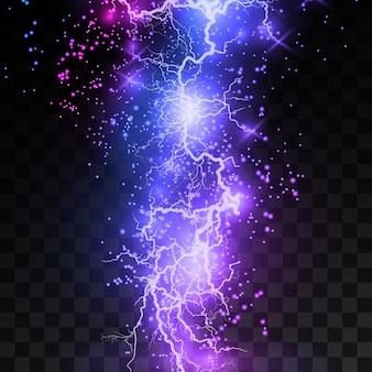 Реалистичные молнии на черном прозрачном фоне, заряд энергии мощный