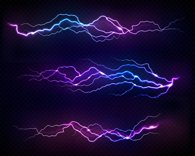 Realistic lightning bolts set. bright light effects on transparent background