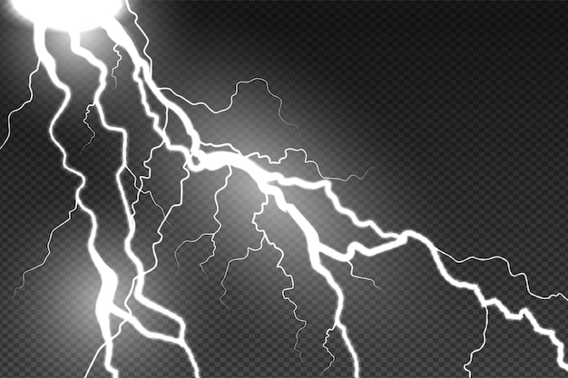 Реалистичный эффект молнии на прозрачном фоне