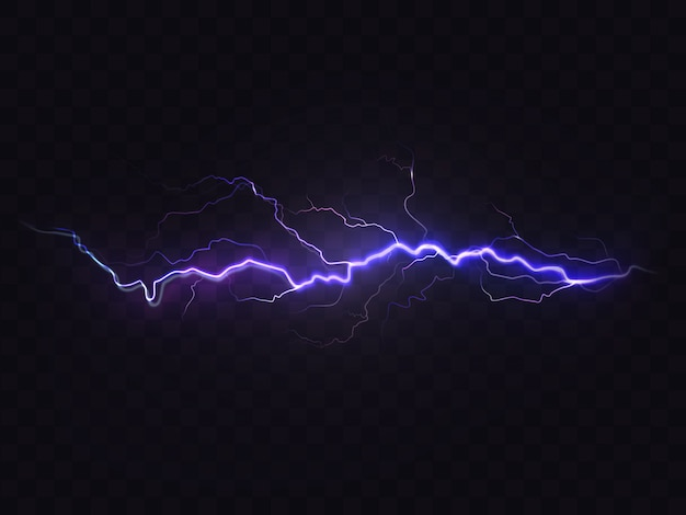 Realistic lightning isolated on black background. natural light effect, bright glowing