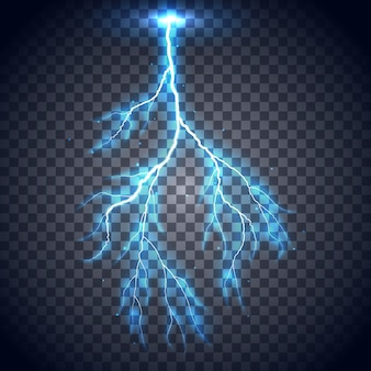Realistic lightning isolated on a transparent background.