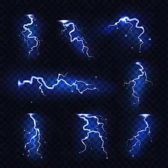 Realistic lightnings. blitz lightning thunder light sparks storm flash thunderstorm. power energy charge thunder shock