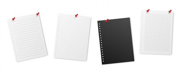 Realistic lined note sheets pinned. blank gridded notebook papers templates