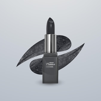 Realistic lipstick of black color with stroke of lipstick. 3d illustration, trendy cosmetic design