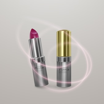 Realistic lipstick of bright cherry color. 3d illustration of golden color, trendy cosmetic design