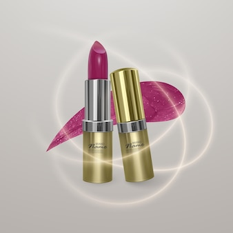 Realistic lipstick of bright cherry color with stroke of lipstick. 3d golden illustration trendy cosmetic design