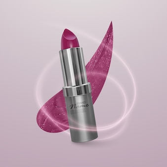 Realistic lipstick of bright cherry color with stroke of lipstick. 3d illustration, trendy cosmetic design