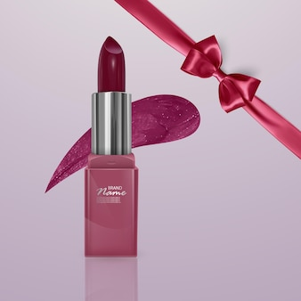 Realistic lipstick of cherry color with realistic bow. 3d illustration, trendy cosmetic design