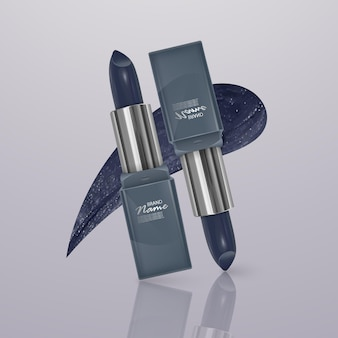 Realistic lipstick of dark blue color with stroke of lipstick. 3d illustration, trendy cosmetic design