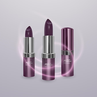 Realistic lipstick of dark cherry color with stroke of lipstick. 3d illustration, trendy cosmetic design Premium Vector