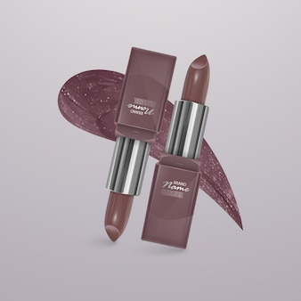 Realistic lipstick of light brown color with stroke of lipstick. 3d illustration, trendy cosmetic design
