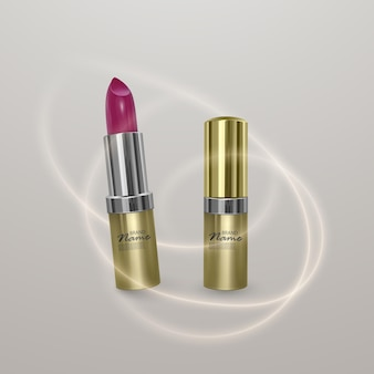 밝은 체리 색상의 현실적인 립스틱. 황금 색상, 유행 화장품 디자인의 3d 일러스트